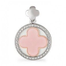 Подвеска из белого золота с бриллиантами и розовой эмалью 4a964f1330d