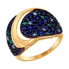 Кольцо из золота с зелеными, синими и голубыми фианитами
