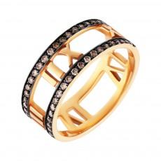 Кольцо из розового золота 585 пробы с бриллиантами