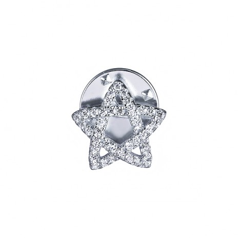 Брошь-значок из серебра с фианитами